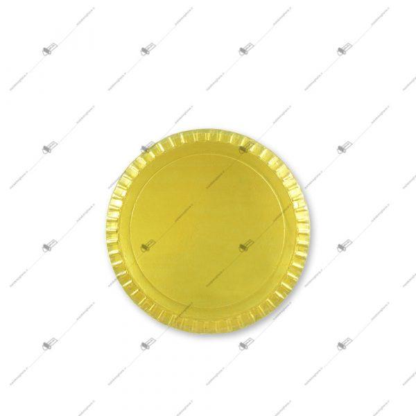 دیس یک بار مصرف مقوایی سه لایه دایره قطر 27 طلایی
